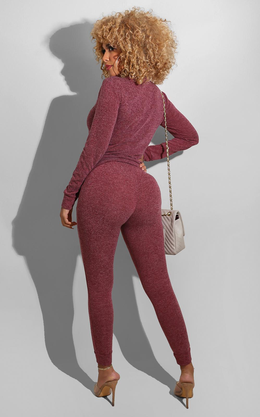 Its Chilly Sweat Suit Burgundy