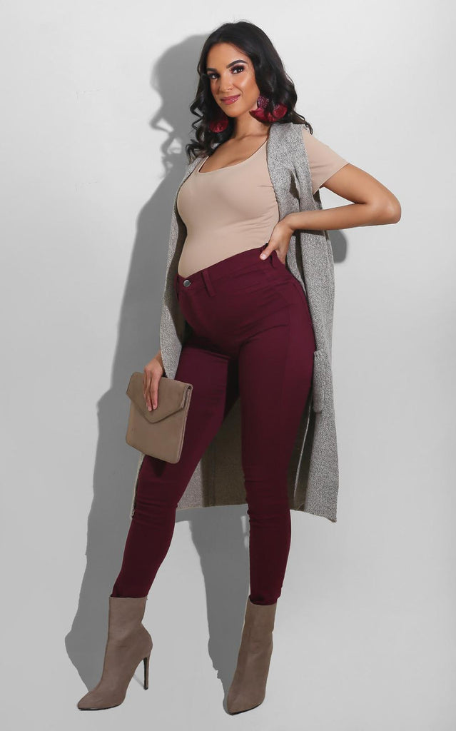 Must have High Waist Jeans Burgundy