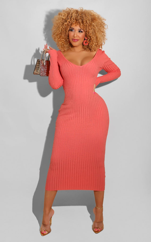 Sweater Essential Dress Coral