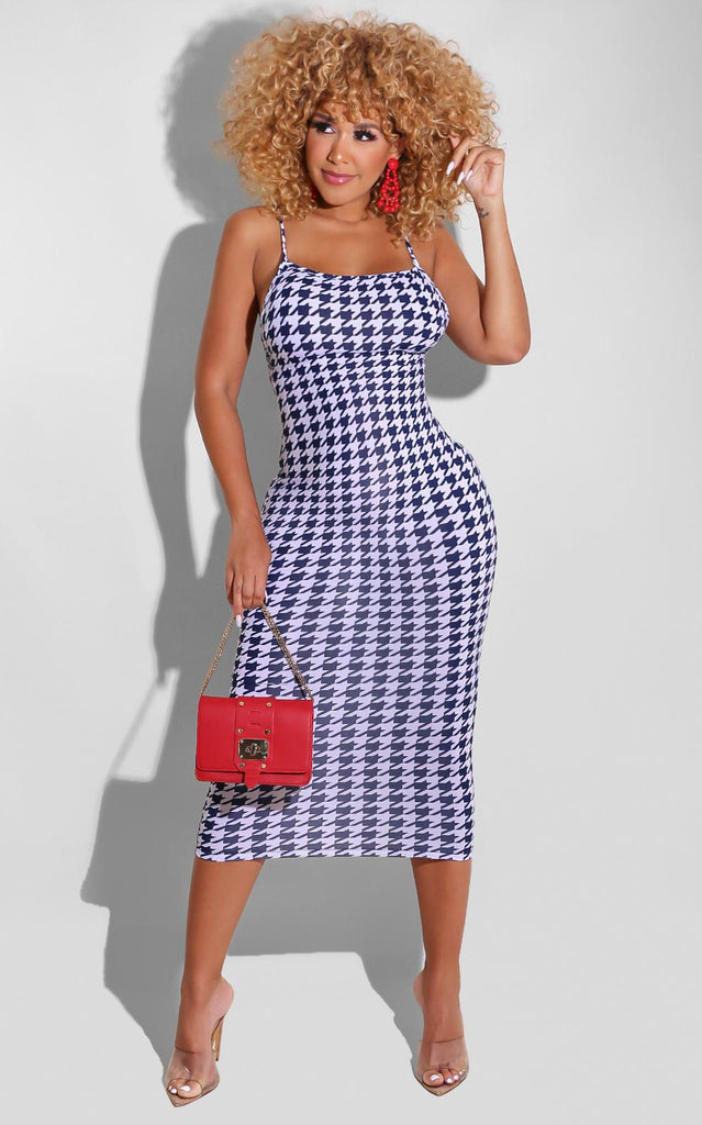 Spring Houndstooth Midi