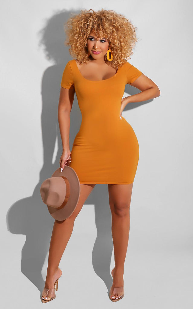 Back to Basics Mini Dress Mustard
