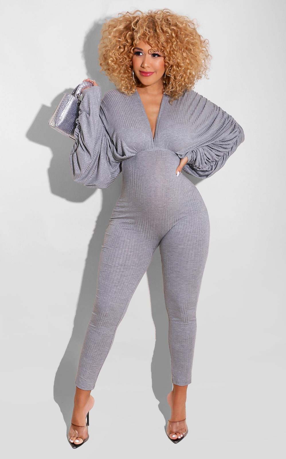 Off the Grind Jumpsuit Grey