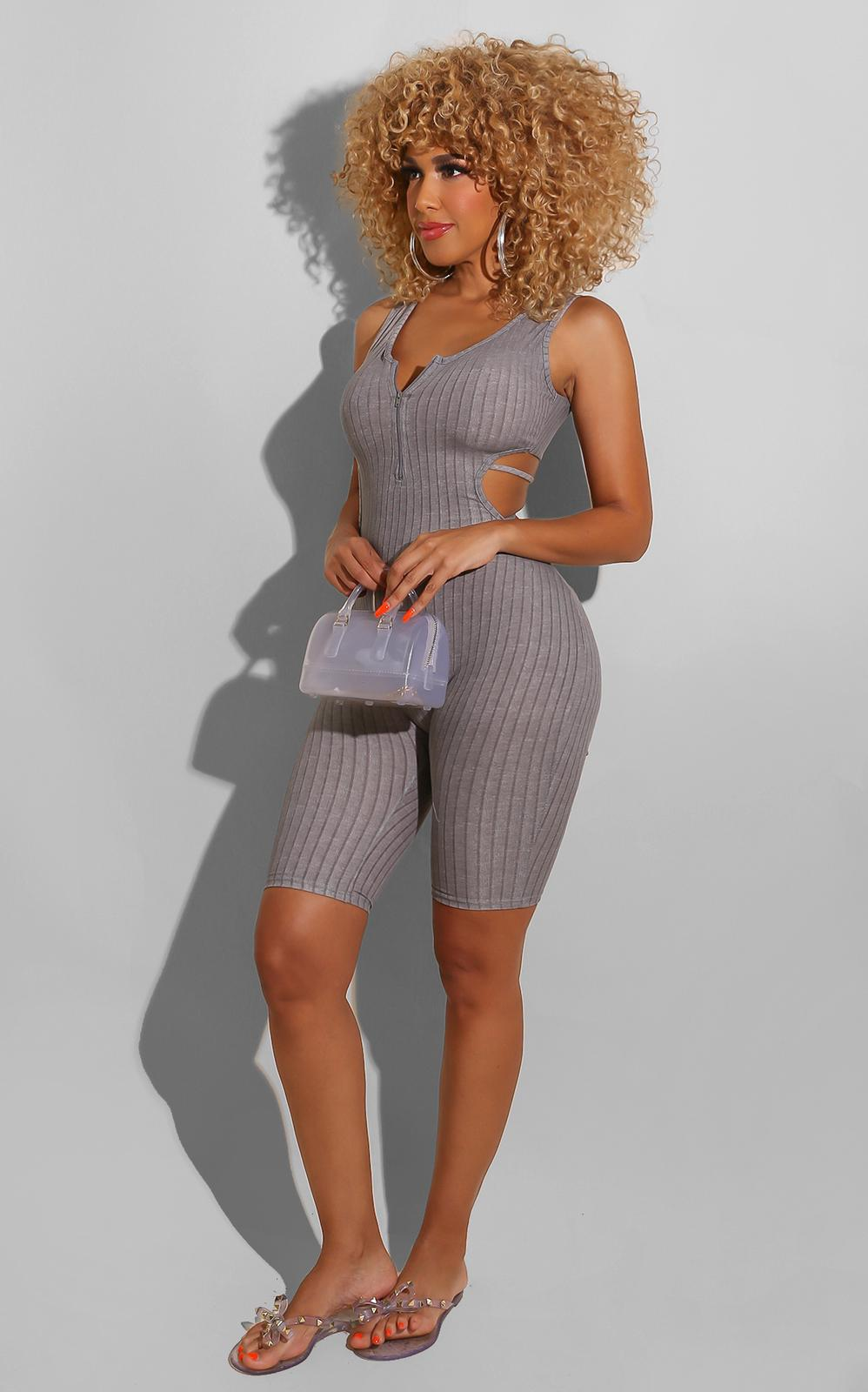 Sexy All The Time Romper Grey