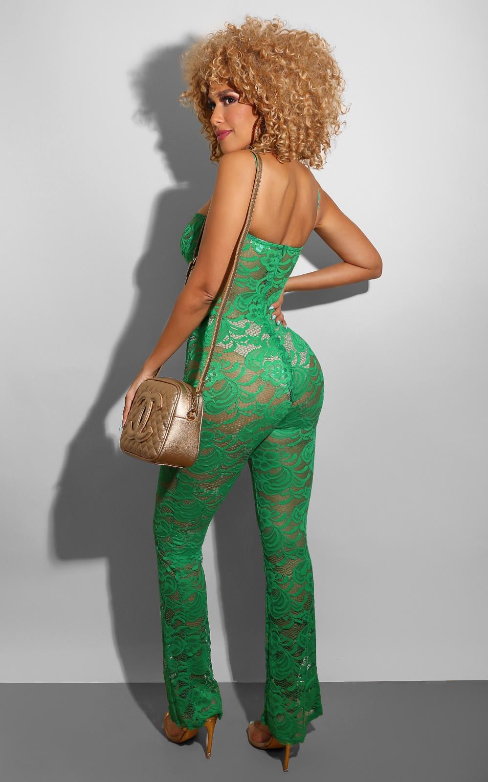 Dare to Bare Lace Jumpsuit Green