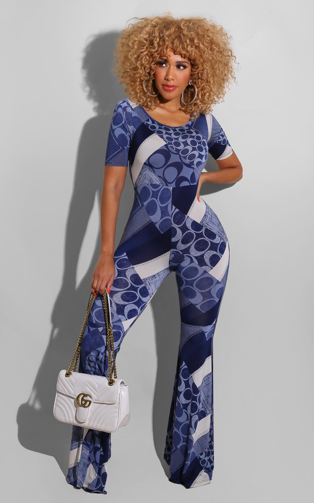Abstract Blue Jumpsuit