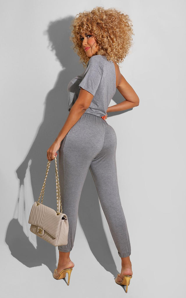 Side Tracked Jumpsuit Grey