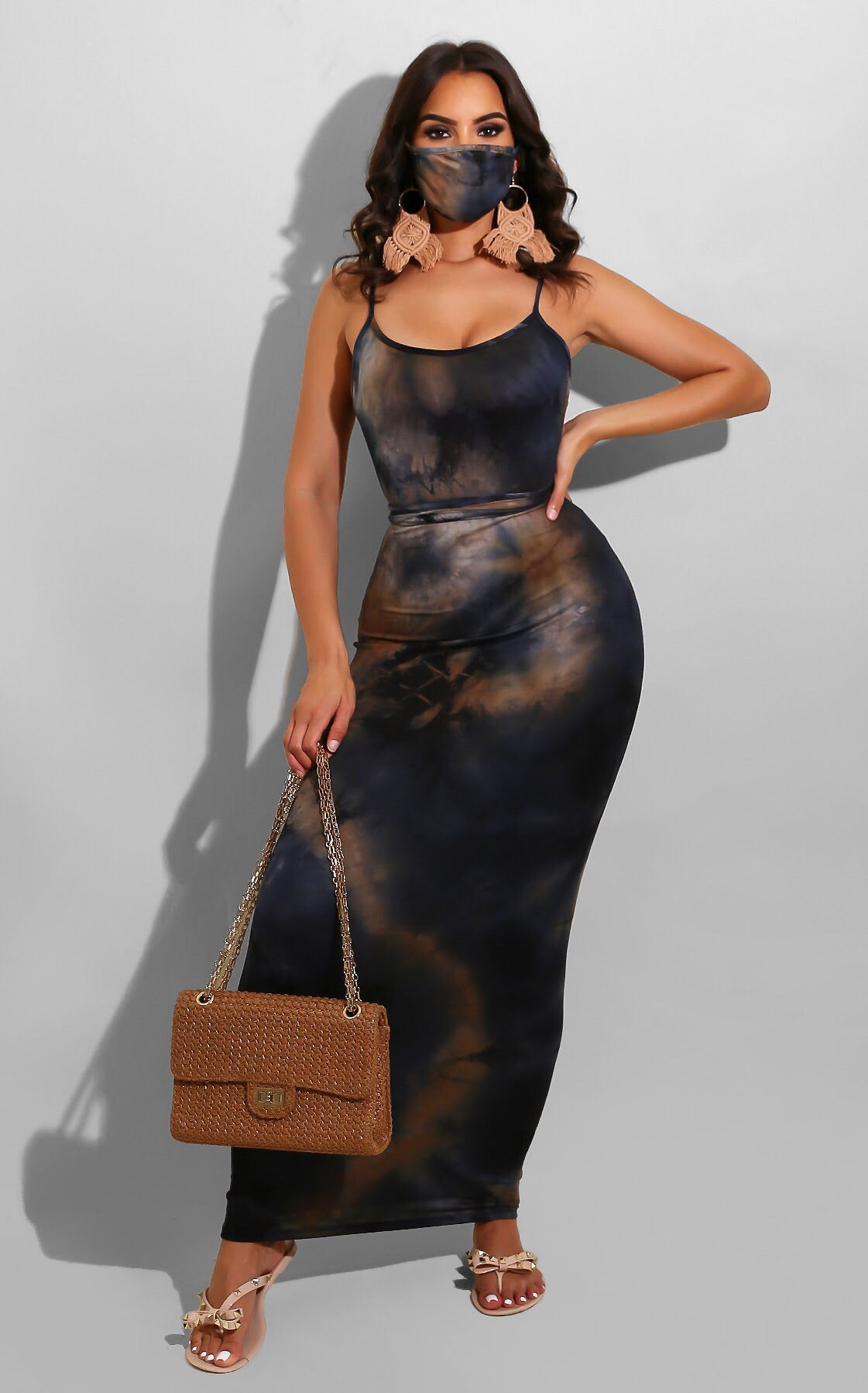 Nelly Tie Dye Midi Black