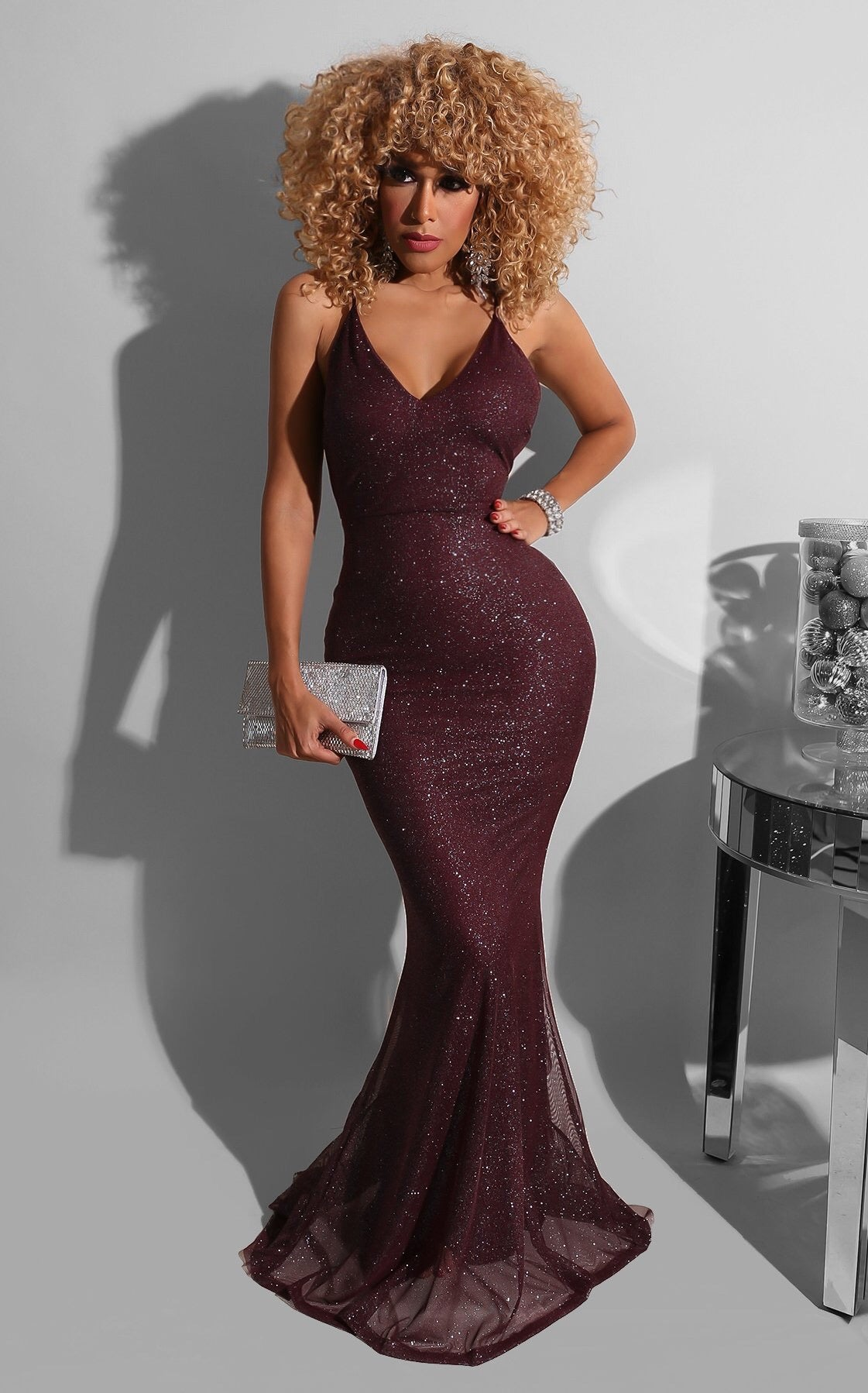 Soft Glitter Dramatic Gown