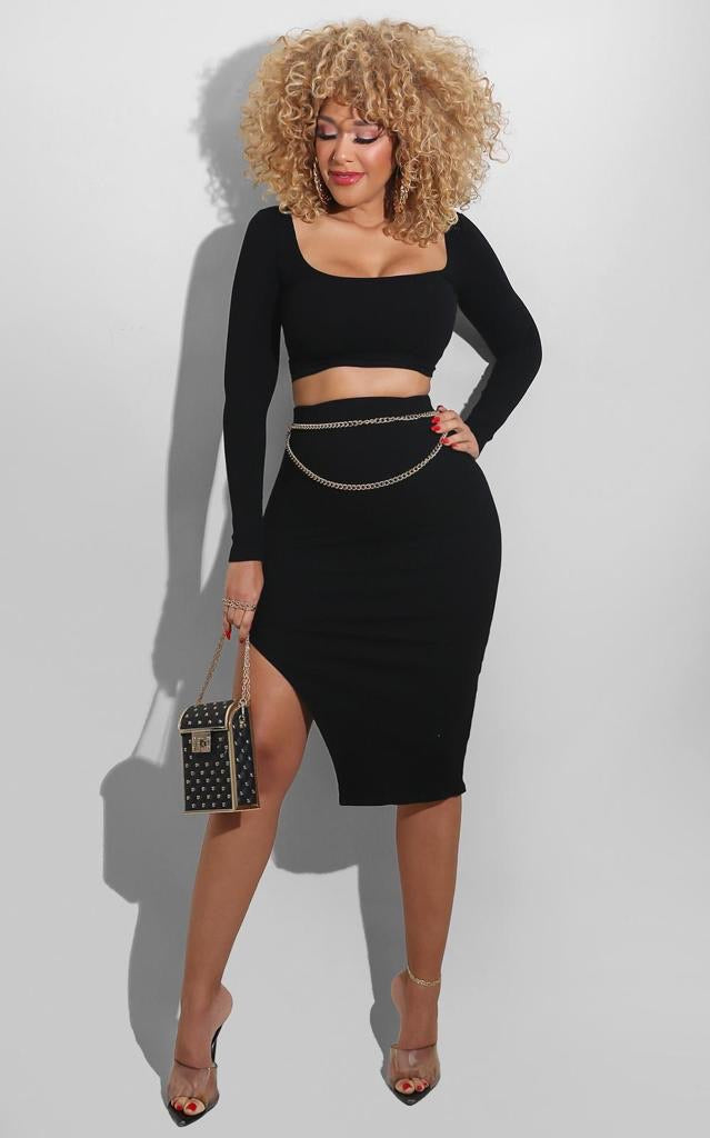 Kimberly Skirt Set Black