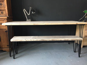 Retro Hairpin Dining/Kitchen Table and 2 bench set