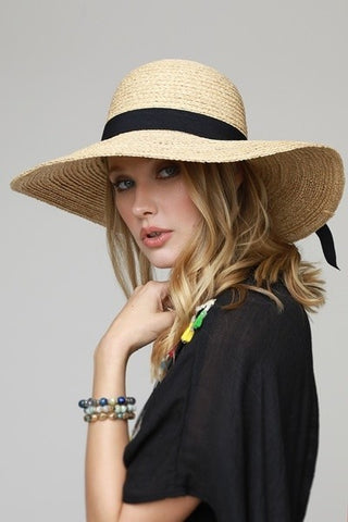 Raffia Straw Hat With Bow