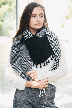 Reversible Multi Pattern Houndstooth Tartan Square Scarf