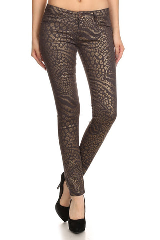Hailey Low Rise Metallic Leopard Print Skinny Jean Pants