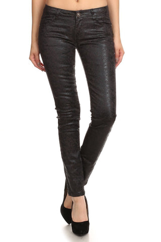 Charlie Textured Low Rise Skinny Leg Jeans