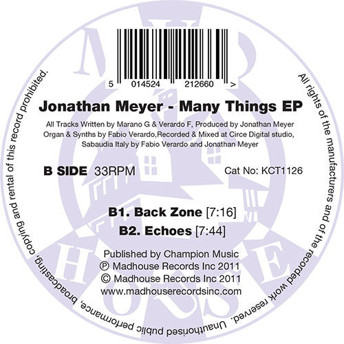 "Jonathan Meyer - Many Things EP (12"" Vinyl)"