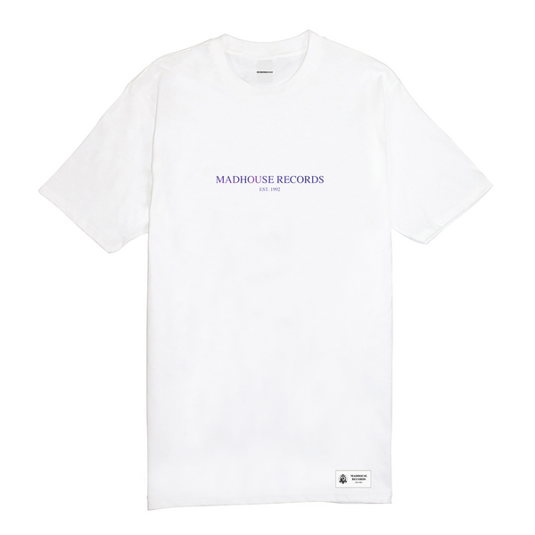 Madhouse Purple Logo Tee - White