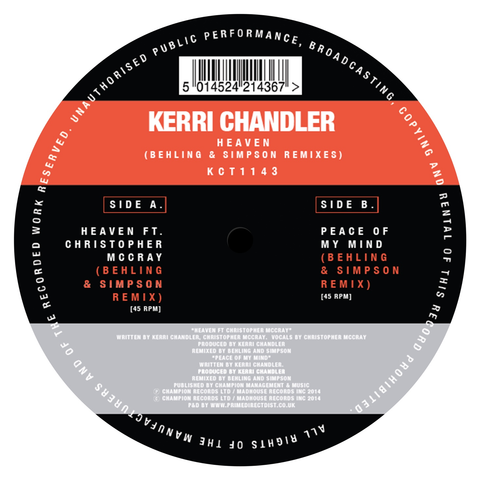 "Kerri Chandler - Heaven (Behling & Simpson Remixes) (12"" Vinyl)"