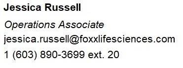 Jessica Russell of Foxx Life Sciences