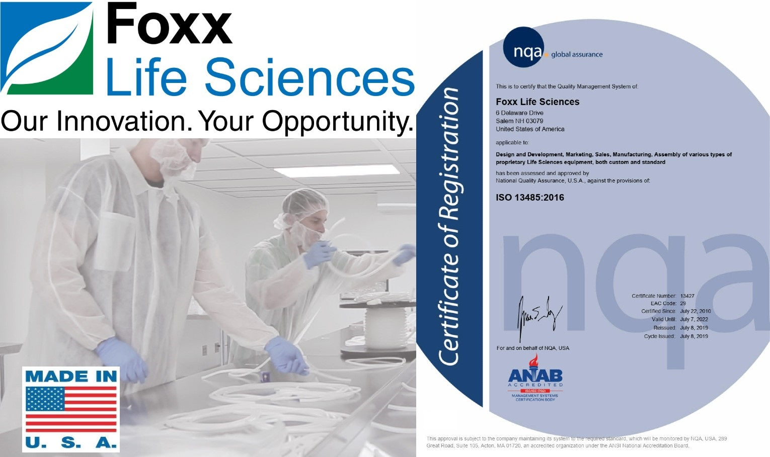 Foxx Life Sciences ISO Certified 2019