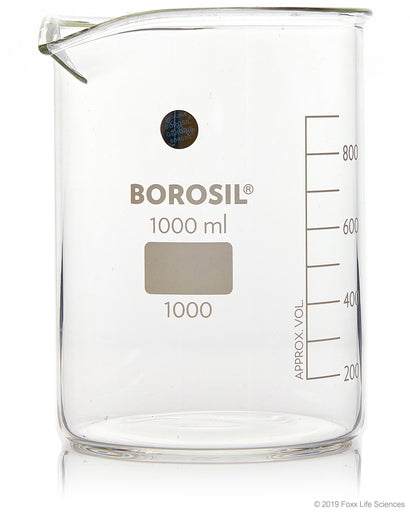 Borosil® Beaker Griffin Low Form with Spout Graduated ISO 3819 Borosilicate 1000mL CS/20