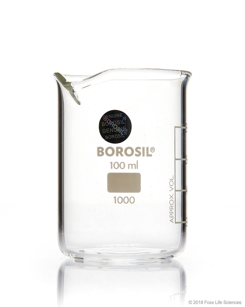 Borosil® Beaker Griffin Low Form with Spout Graduated ISO 3819 Borosilicate 100mL CS/40