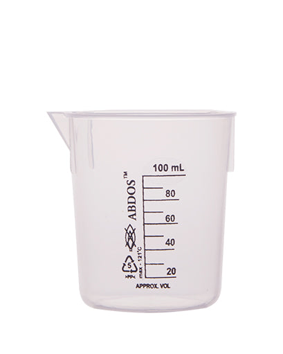 Abdos Printed Plastic Beakers, Polypropylene (PP) 100ml, 12/CS