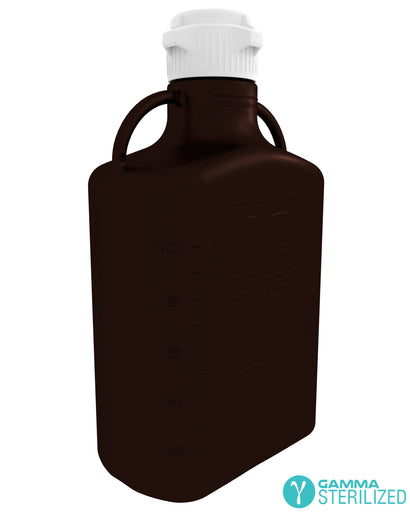 EZBio® 10L (2.5 GAL) Dark Amber PP Carboy with VersaCap® 83B, Double Bagged, Gamma Sterilized