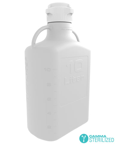 EZBio® 10L (2.5 GAL) HDPE Carboy with VersaCap® 83mm, Double Bagged, Gamma Sterilized
