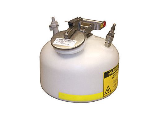 Round Quick-Disconnect In-Flow Safety Can, S/S or polypropylene fittings, 2 gallon, poly