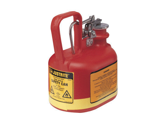 Oval Safety Can for flammables, S/S hardware, flame arrester, .5 gallon, self-close cap, poly