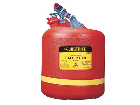 Type I Safety Can, Round Nonmetallic, S/S hardware, 5 gallon, flame arrester, polyethylene