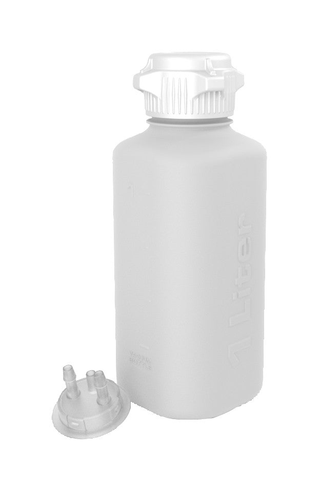 "1L HDPE Heavy Duty Vacuum Bottle, with 1/4"" Hose Barb Adapter"