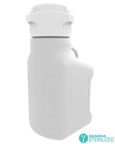 EZBio® 2.5L (0.5 GAL) HDPE Carboy with VersaCap® 83mm, Double Bagged, Gamma Sterilized