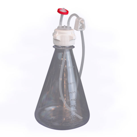 EZBio, Single-Use Bottle Assembly, 2000mL, 53mm VersaCap, PC, Vented w/ DipTube, 10/cs