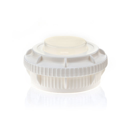 EZBio® GL45 Open Cap & Closed Adapter, White PP for Plastic Bottles