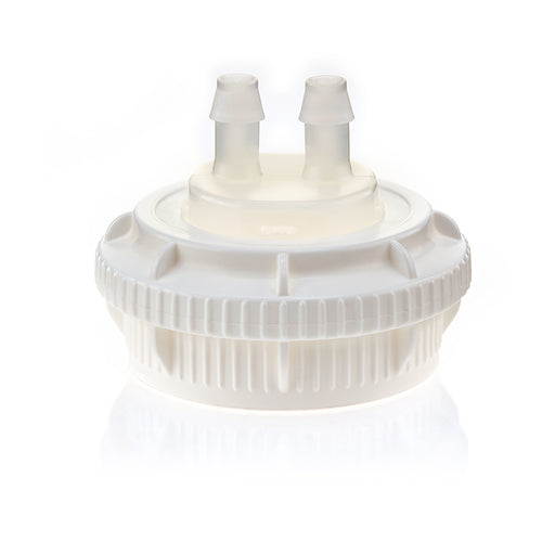 "EZBio® GL45 Open Cap & Molded 2x 1/4"" HB, White PP for Plastic Bottles"