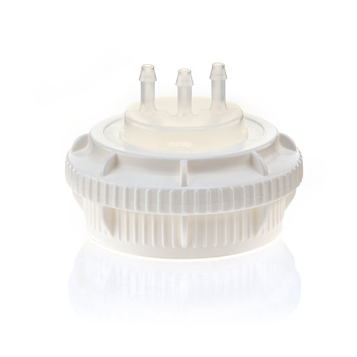 "EZBio® GL45 Open Cap & Molded 3x 1/8"" HB, White PP for Plastic Bottles"