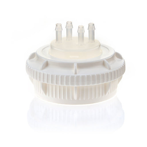 "EZBio® GL45 Open Cap & Molded 4x 1/8"" HB, White PP for Plastic Bottles"
