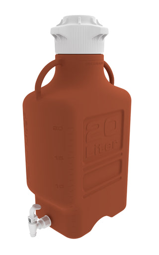 20L (5 Gal) Amber HDPE Carboy with 120mm Cap and Spigot
