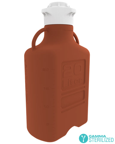 EZBio® 20L (5 GAL) Amber HDPE Carboy with VersaCap® 120mm, Double Bagged, Gamma Sterilized