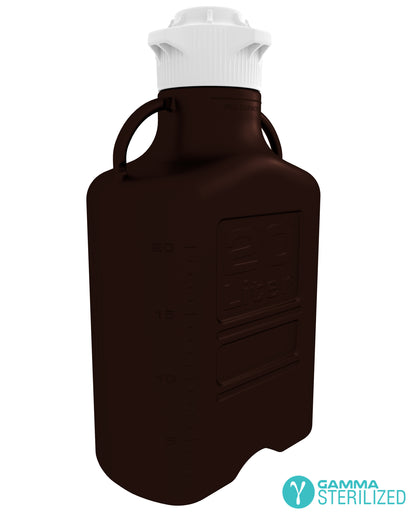 EZBio® 20L (5 GAL) Dark Amber PP Carboy with VersaCap® 120mm, Double Bagged, Gamma Sterilized