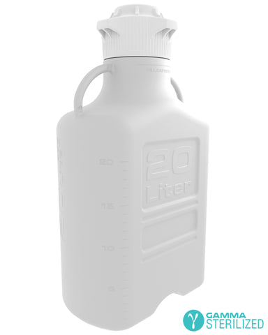 EZBio® 20L (5 GAL) HDPE Carboy with VersaCap® 120mm, Double Bagged, Gamma Sterilized