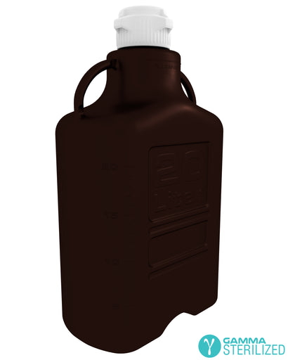 EZBio® 20L (5 GAL) Dark Amber PP Carboy with VersaCap® 83mm, Double Bagged, Gamma Sterilized