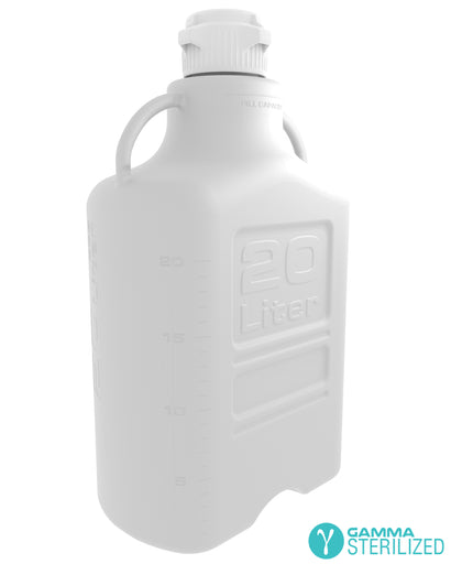 EZBio® 20L (5 GAL) HDPE Carboy with VersaCap® 83B, Double Bagged, Gamma Sterilized