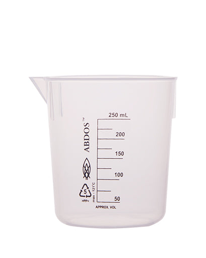 Abdos Printed Plastic Beakers, Polypropylene (PP) 250ml, 12/CS