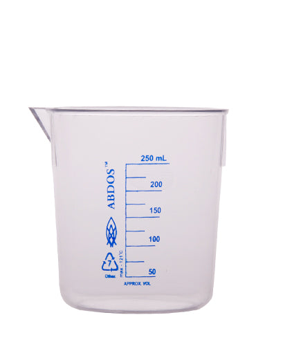 Abdos Printed Beakers without Handle, TPX Polymethyl pentene (PMP) 250ml, 12/CS