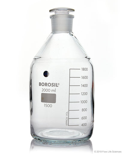 Borosil® Clear Reagent Bottles with Stoppers - 2L - 29/32 - CS/10