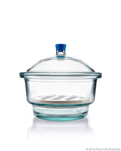 Borosil® Desiccator With Cover and Porcelain Plate, Plastic Knob, Borosilicate Glass 300 mm CS/1