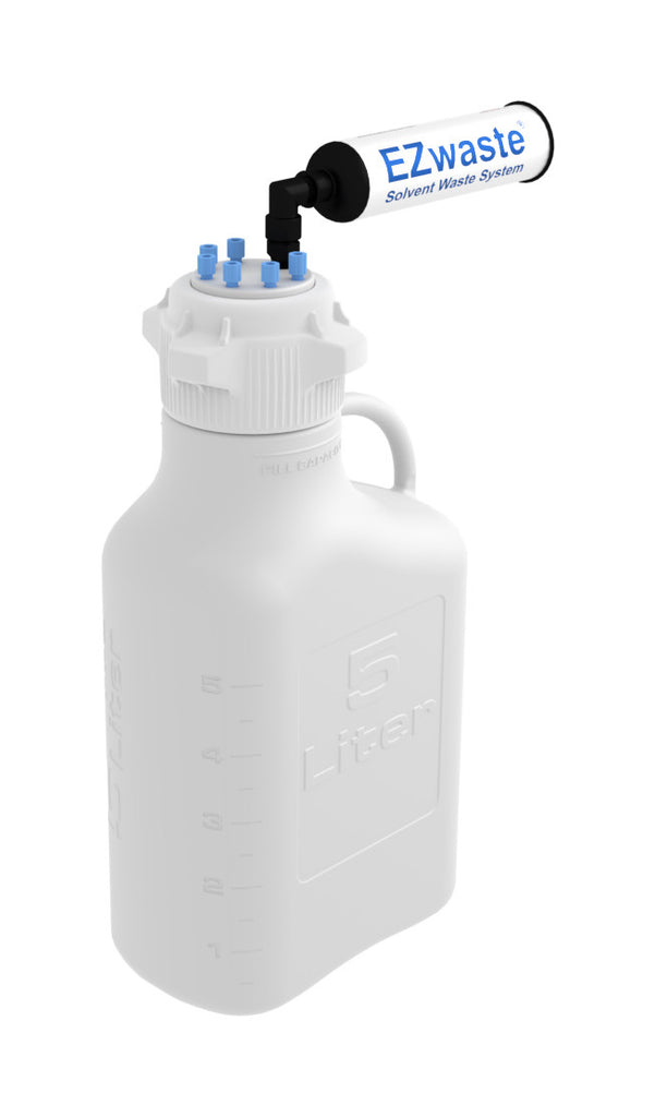 EZwaste® Safety Vent Carboy 5L HDPE with VersaCap® 83mm, 6 Ports for 1/8'' OD Tubing and a Chemical Exhaust Filter