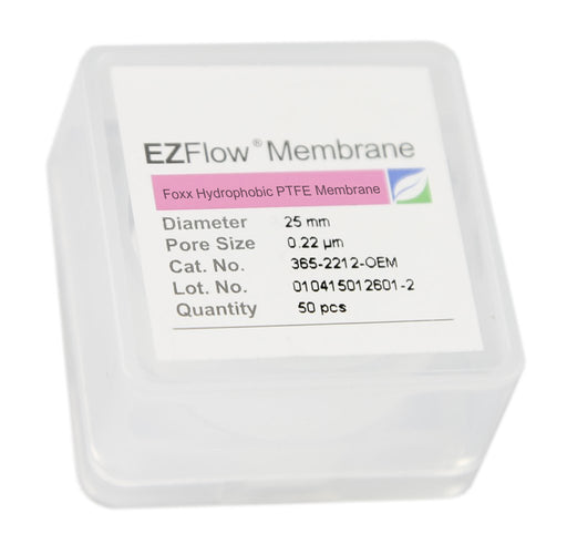 50 pack EZFlow® 25mm 0.2µm Hydrophobic PTFE Membrane Disc Filter
